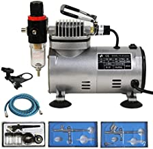 F2C TC-20BK Airbrush Kit with Compressor Multi-Purpose Pro Dual-Action 1/5HP Single Piston, 3 Airbrush Kits and 6FT Hose