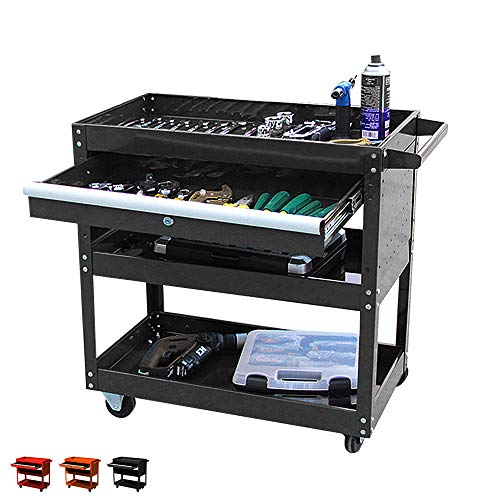 Big Tool Cart,4-Wheel Tool Cart,Rolling Tool Cart,Big Tool Storage Cart,Tool Cart with Ball-Bearing Slides,Tool Cart&Tool Chest for Garage and Warehouse (Black)