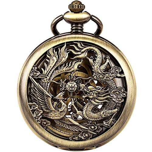 1. SPECIAL DESIGN - Unique Phoenix & Dragon hollow pattern case design, symbolizes the BEST of LUCK. Bronze case, Roman numerals, Special skeleton dial with golden movement, looks very Elegant, Smart, Vintage and fashionable! 2. GOOD QUALITY - 100% b...