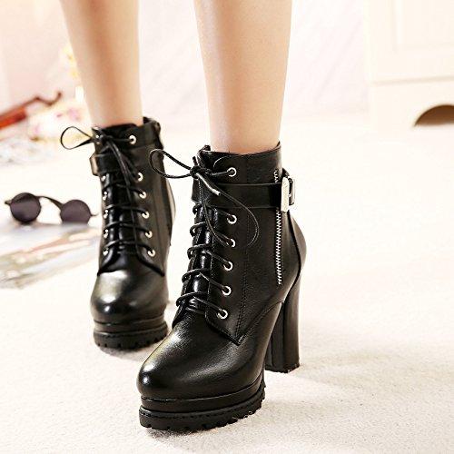 Shukun enkellaarsjes, waterdicht platform, dik met de laarzen van vrouwen, herfst en winter, comfortabele hooghakkige laarzen, waterdicht, platform, dik met vrouwen laarzen kant