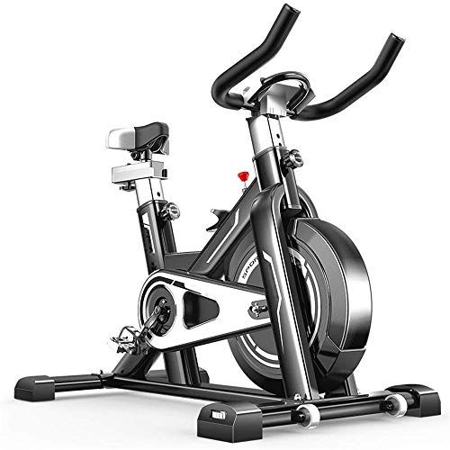 Great Price! LSYOA Upright Exercise Bike, Stationary Indoor Cycling Bike with Flywheel Adjustable Re...