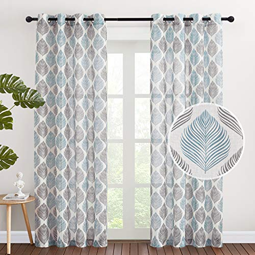 NICETOWN Linen Sheer Curtains for Farmhouse - Grommet Top Fashion Leaves Printing Decorative Keep Privacy Semi Sheer Curtain Panels for Living Room, W50 x 84L, 2 Pieces, Blue & Black