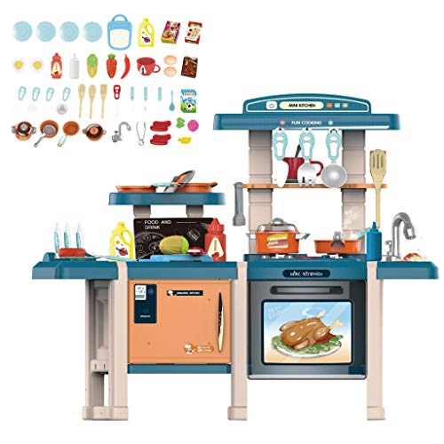【Ship from USA】 Fun with Friends Great Gourmet Kitchen | Durable Kids Kitchen Playset with Lights & Sounds,Simulation of Spray, Play Sink with Running Water | Tan Plastic Play Kitchen (Blue-1)