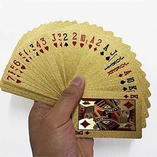 Rachlicy 24k Juego De Póker De Juego De La Cubierta De La Hoja Poker Conjunto De Tarjetas Tarjetas De Plástico a Prueba De Agua De Azar Juegos De Mesa Tarjetas De Plástico