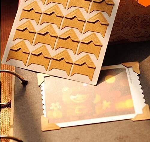 120 stuks/stuk (5 vellen) DIY Vintage Corner kraftpapier Stickers for Fotoalbums Frame Decoration Scrapbooking (Color : Kraft paper)