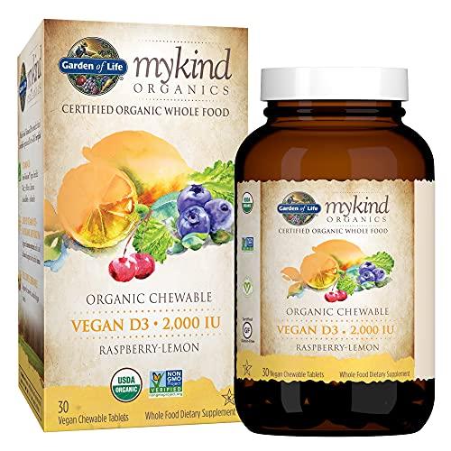 Garden of Life Organic Vitamin D3 Mykind Vegan Chewable Tablets, 2000 IU (50mcg) Whole Food from Lichen Plus & Mushroom Blend, Gluten Free, Orange, Raspberry/Lemon, 30 Count