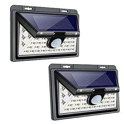 Samuyang Solar Motion Sensor Lights Outdoor- 34 LED Wireless Solar Powered Deck Lights,3 Modes 270° Wide Angle,IP65 Waterproof Wall Security Lighting Night Light for Front Door, Garage, Yard-2 Pack