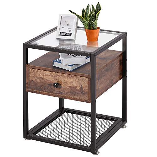 VECELO Nachttisch, Nachtkommode Glas-Beistelltisch Couchtisch mit Schublade 40 * 40 * 55 cm Modern und Stabil Vintage Braun