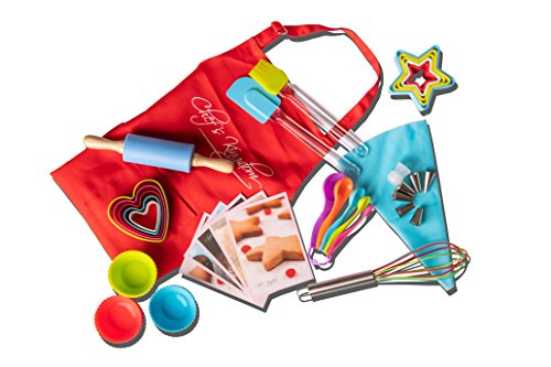 Riki's kingdom Kids real baking set with recipes/Cupcake cups/decorating kit,Cookie Cutters,Measuring Spoons,whisk,Rolling Pin,Spatula,Gift Box (Baking set with Kid Apron and Cookie Cutters)
