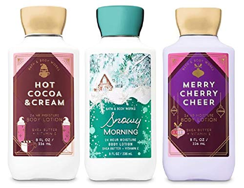 Bath and Body Works Holiday Lotion Set - Hot Cocoa, Merry Cherry, Snowy Morning