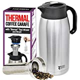 Hybrid Coffee Carafe Thermal 68oz/2L, Double-wall Vacuum Insulated Stainless steel pitcher/dispenser- Tea...