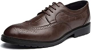 shangruiqi Men's Fashion Oxford Casual Classic Comfortable Low Top Individuality Carving Brogue Shoes Abrasion Resistant (Color : Brown, Size : 6.5 UK)