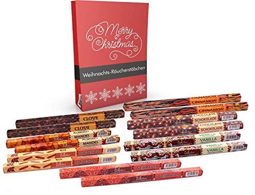 Luxflair Winter Räucherstäbchen Set Weihnachten mit Mandel, Nelken, Sandelholz, Schokolade, Vanille, Zimt + 2 Überraschungen. Probierset für die kalte Jahreszeit