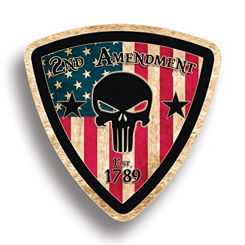 Rustic Skull 2nd Amendment Handgun Pistol Warning BADGE Decal Sticker Gun USA Flag