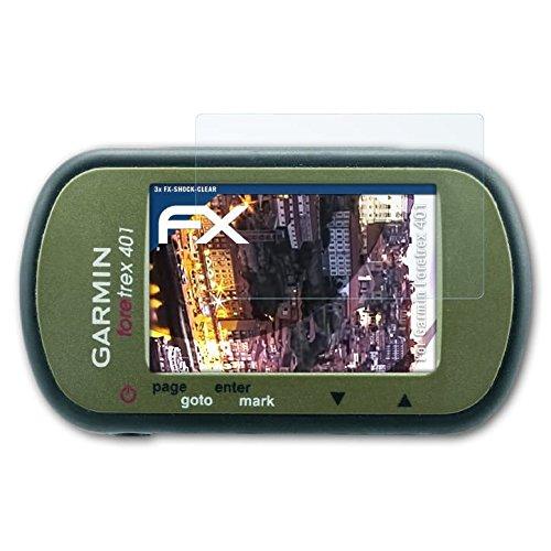 atFoliX Schutzfolie kompatibel mit Garmin Foretrex 401 Panzerfolie, ultraklare und stoßdämpfende FX Folie (3X)