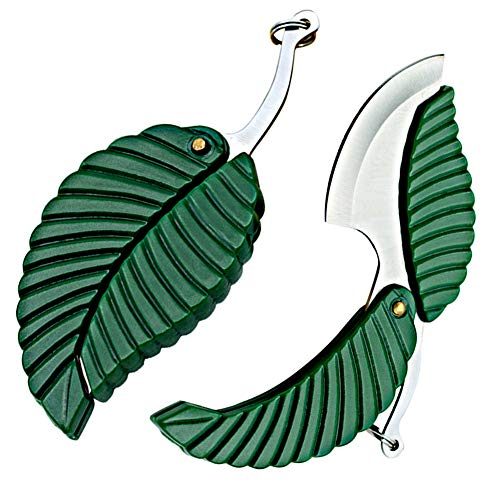 2 Pack Mini Portable Green Leaf Knife Business Gift Creative Key Accessories Folding Pocket Knife - Stainless Steel Folding Pocket Keychain Knife - Sharp Compact EDC Easy To Carry