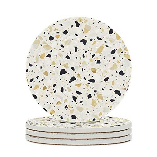 Perstonnoli Posavasos Terrazzo con textura de mármol, redondos, de cerámica, con base de corcho, 4 unidades, para vasos, jarrones, velas, 10 cm, color blanco, 6 unidades