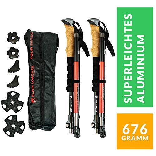Alpin Loacker Faltbare Wanderstöcke, Skitourenstöcke | höhen-verstellbare Trekkingstöcke mit Korkgriff inkl. Zubehör | aus stabilem, bruchfestem Aluminium (Rot)