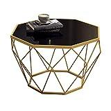 ZHIRONG Nordic Modern Sofa Beistelltisch Wohnzimmer Schwarz Gehärtetem Glas Couchtisch Gold Metal Base , 18''x15.7 ''