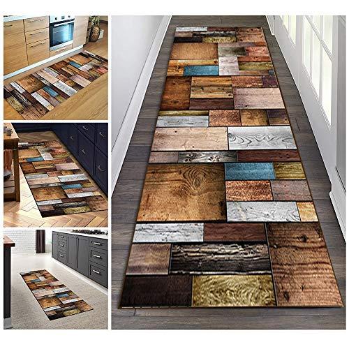 Filjr Teppich Läufer Flur Bunt rutschfest Lang 60x150cm Vintage for Küche Schlafzimmer Wohnzimmer, TQDTX Polyester Verblassen Nicht Anpassbar (Color : Color#2)