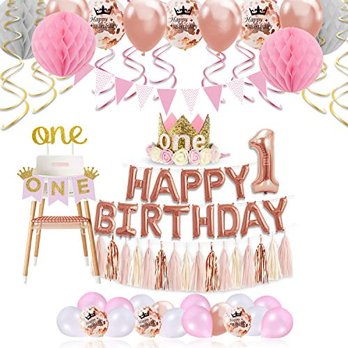 Princess Themed 1st Birthday Milestone Photo Banner and Cake Topper Birthday Party Decorations