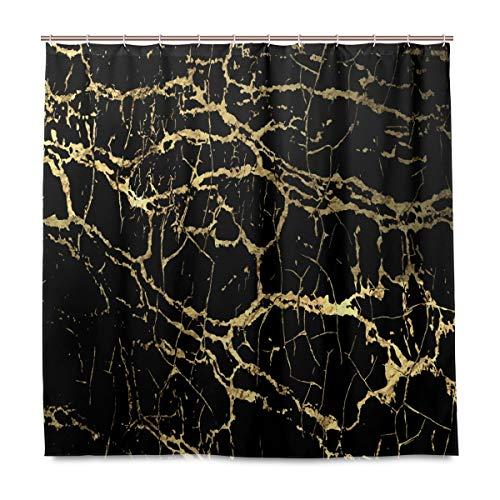 TropicalLife HaJie Badezimmer Duschvorhang Golden Line Schwarz Marmor Druck 72 x 72 Zoll Badvorhang mit Haken Wasserdicht Stoff Vorhang