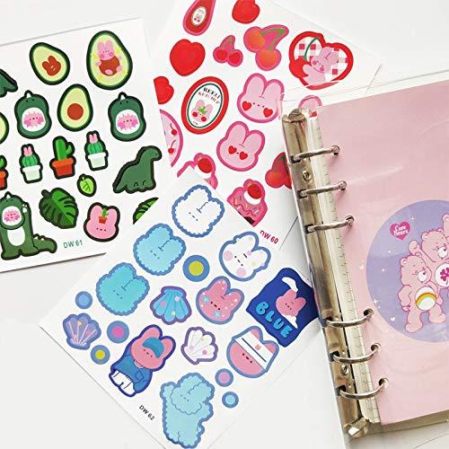 3 Sheets Cute Cherry Rabbit Stickers Scrapbooking Decorative Sticker Korean DIY Diary Album Stick Label Kawaii Stationery