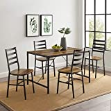 WE Furniture AZW48AISB5RO Industrial Modern Farmhouse Wood Metal Rectangle Dining Room Table Set, 48 Inch, Brown Reclaimed Barnwood