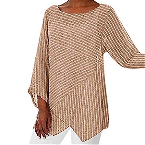 Bumplebee Rundhals Bluse Damen Unregelmäßiger Saum T-Shirts Damen Leichte Bequem Oberteile Damen Elegant Herbst Langarm Pullover Damen Top Tunika Mode Langarmshirts Pulli Damen