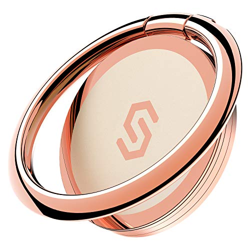 Syncwire Cell Phone Ring Holder Stand, 360 Degree Rotation Finger Ring Kickstand with Polished Metal Phone Grip for Magnetic Car Mount Compatible with iPhone, Samsung, LG, Sony - Rose Gold
