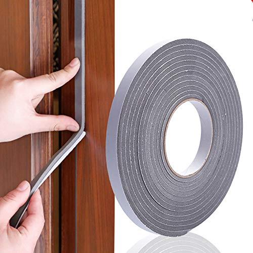 2 rollos de cinta adhesiva de espuma gruesa de alta densidad, tiras autoadhesivas para puerta (color: 5 mm gris)