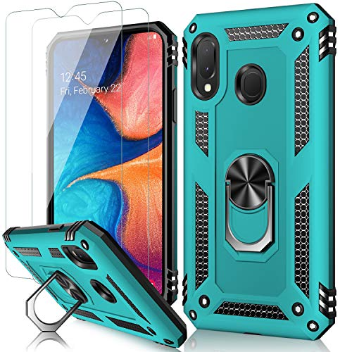 MERRO Galaxy A20 Case with Screen Protector,Galaxy A30 Cover Pass 16ft Drop Test Military Grade Shockproof Protective Phone Case with Magnetic Kickstand for Samsung Galaxy A20/A30 Turquoise