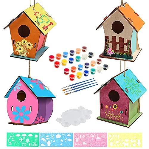 Anyingkai 4pcs Kit de Casa de Pájaros de Bricolaje,Casa de Pájaros Madera Manualidades Kit,Casa de Pájaros de Madera,Casa de Pájaros Exterior,Pintar Casa de Pájaros (Forma Redonda)