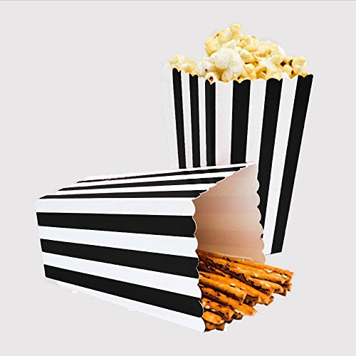 24pcs Striped Paper Popcorn Boxes for Party Favor Supplies (Black)