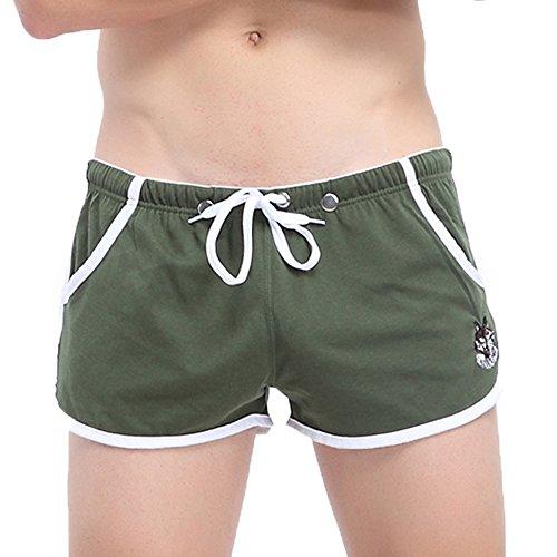 EUCoo Pantaloncini Pugili da Uomo Corda Tasca Pulsante Biancheria Intima Confortevole(Army Green,Medium)