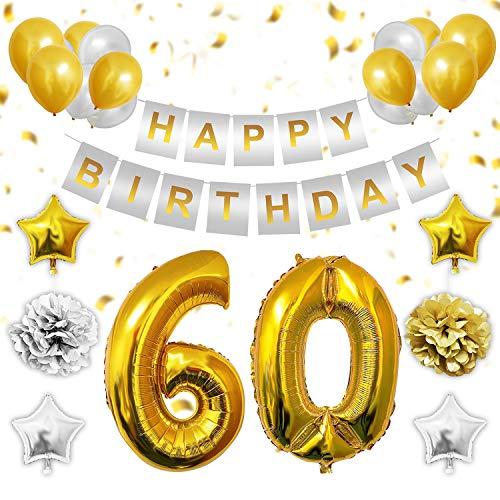 BELLE VOUS 60 Cumpleaños Decoración - 60 Números Dorados Globos, Happy Birthday Pancarta, Dorados y Plata Globos de Latex, Globos de Estrella, Pom Poms, 3 Cannucce y 10m Cuerda para Hombre Mujer