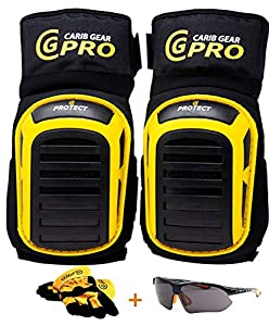 Knee Pads For Work- Heavy Duty Gel Construction kneePads Gardening Best Tool for Tiling Flooring Roofing Comfortable Foam Cushion, Stretchable Anti-Slip Thigh Straps Bonus UV Safety Glasses & Gloves
