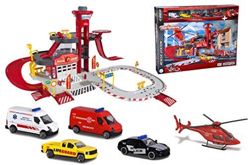 Majorette Creatix Rescue Station, Feuerwehrstation, Rettungsstation inkl. 4 Autos, inkl. 1 Spielzeughelikopter, 3 Etagen, Garage, große Parkgarage mit Aufzug, Rampen, 72 x 72 x 35 cm, ab 5 Jahren