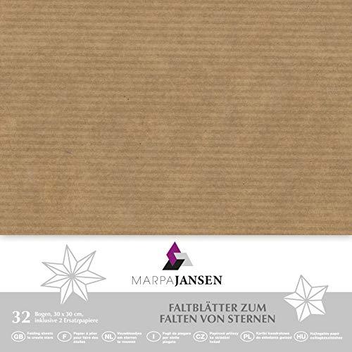 Faltblätter aus Natronkraftpapier - Origamipapier - (30 x 30 cm, 32 Bogen, 80 g/m²) - braun gerippt