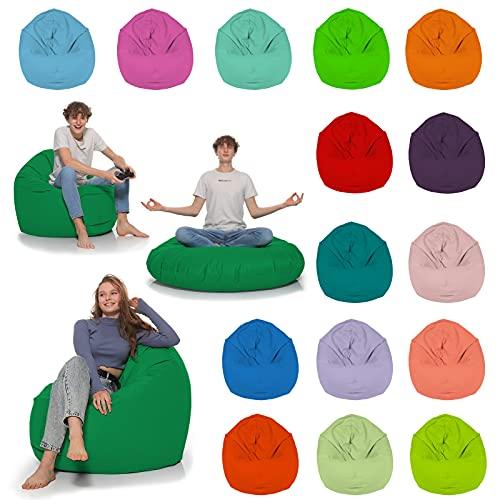 HomeIdeal - Sitzsack 2-in-1 Funktionen Bodenkissen für Erwachsene & Kinder - Gaming oder Entspannen - Indoor & Outdoor da er Wasserfest ist - mit EPS Perlen, Farbe:Grün, Größe:110 cm Durchmesser
