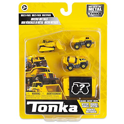 Tonka 6056 Micro Metals Dump Cement Mixer and Bull Dozers, Building and Dumper, Kids Construction, Vehicle Creative Play, Toy Trucks for Children Aged 3 Plus