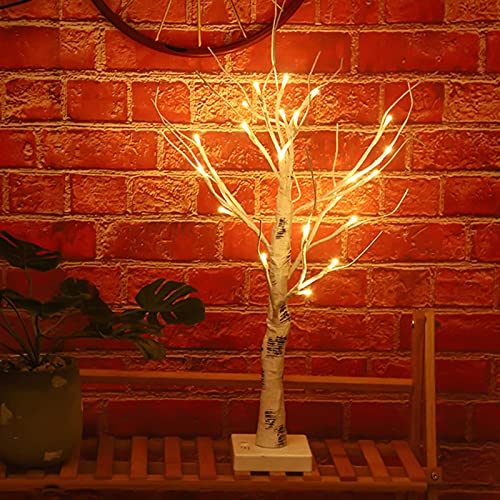 LLLKKK Árbol de Navidad con 24 luces LED de alambre de cobre para decoración del hogar, bodas, vacaciones de Navidad y más, color blanco cálido