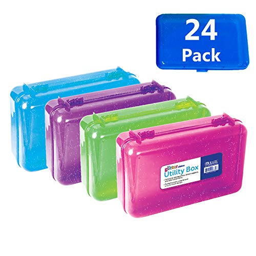 BAZIC Glitter Bright Color Multipurpose Utility Box Assorted COLORS MAY VARY Cubby Bin Pencil box Storage Desk Plastic Organizer for Pens Pencils College Student Kids School Supplies 24-Pack