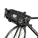 Roswheel 100% Waterproof Bike Handlebar Bag 7L Cycling Bicycle Mountain Road MTB Bike Front Top Frame Pouch With Rollable Opening Made of Polyester With Bicycle Front Light Interface (Black)