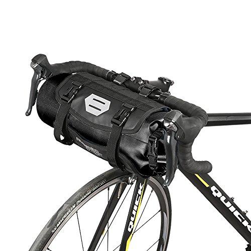 Roswheel 100% Wasserdicht Fahrradlenkertasche Einstellbarer Volumen 3L bis 7L Fahrradtasche für den Lenker Aufrollbare Lenkertaschen aus Polyester mit Fahrradfrontlicht Schnittstelle (Schwarz)