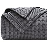 PHF 100% Cotton Waffle Weave Blanket King Size - Luxury Decorative Soft Breathable Skin-Friendly Blanket for All Season - Perfect Textured Blanket Layer for Couch Bed Sofa 108'x90' - Dark Grey