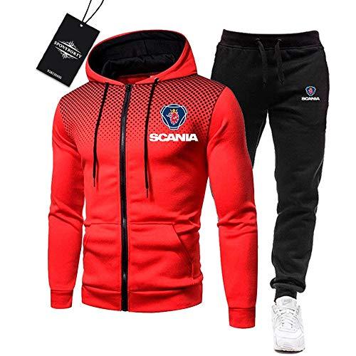 MAUXpIAO de Los Hombres Chandal Conjunto Trotar Traje Sc-A.Nia Hooded Zipper Chaqueta + Pantalones Deporte R de Los Hombres /  Rojo/XL