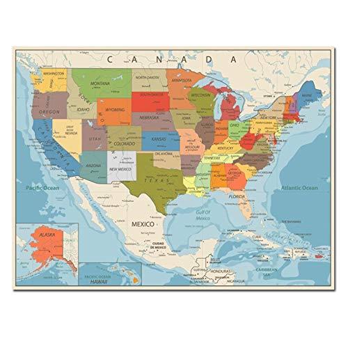 artaslf EE. UU. Mapa de Estados Unidos Lienzo póster decoración de Pared Mapa de EE. UU. Versión en inglés para decoración del hogar y la Sala de Estar, 60x90 cm sin Marco
