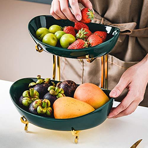 XHHXPY Cesta de Frutas de Cerámica de 2/3 Pisos Fruteros de Cocina...