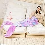 Adult Mermaid Tail Blanket, All Seasons Mermaid Tails Sleeping Bags, Rainbow Plush Soft Premium Microfiber Colorful Fish Scale Design Snuggle Blanket